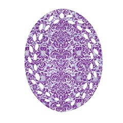 Damask2 White Marble & Purple Denim (r) Oval Filigree Ornament (two Sides)