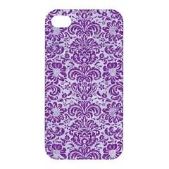 Damask2 White Marble & Purple Denim (r) Apple Iphone 4/4s Hardshell Case