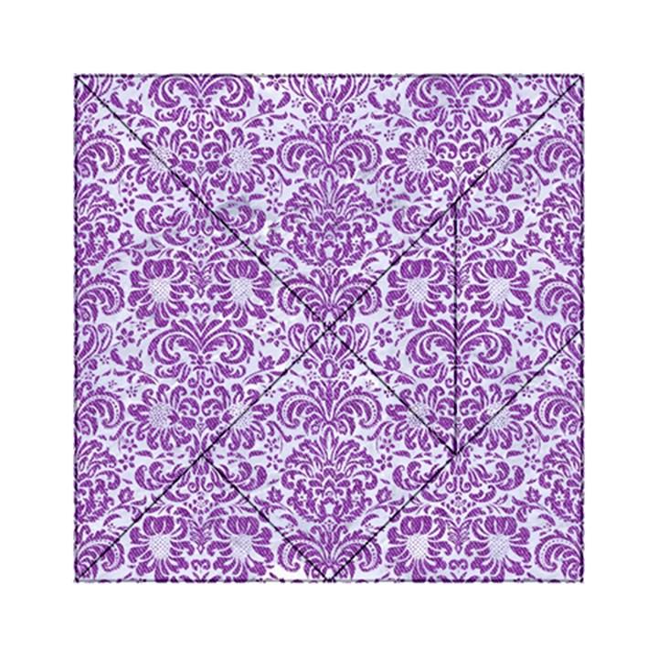 DAMASK2 WHITE MARBLE & PURPLE DENIM (R) Acrylic Tangram Puzzle (6  x 6 )