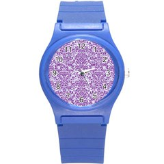 Damask2 White Marble & Purple Denim (r) Round Plastic Sport Watch (s) by trendistuff