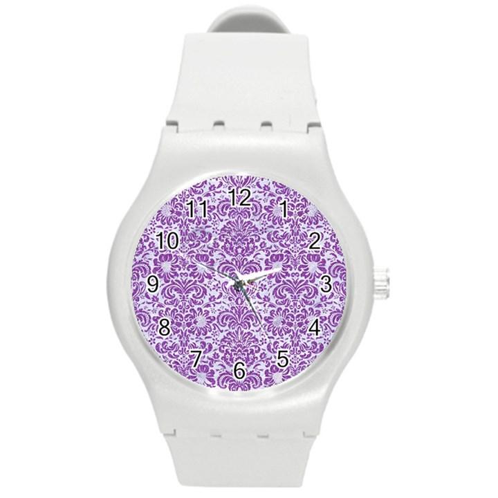 DAMASK2 WHITE MARBLE & PURPLE DENIM (R) Round Plastic Sport Watch (M)