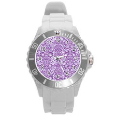 Damask2 White Marble & Purple Denim (r) Round Plastic Sport Watch (l) by trendistuff