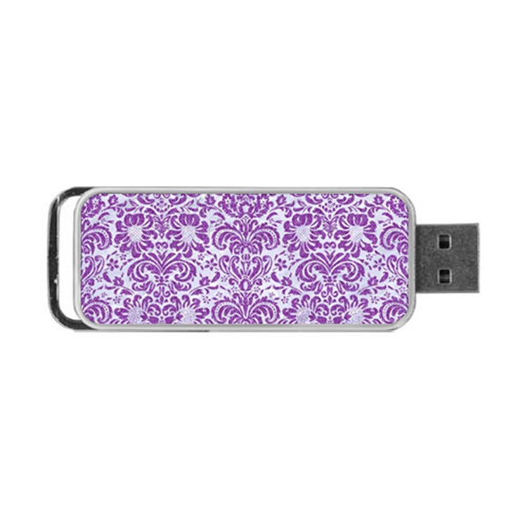 DAMASK2 WHITE MARBLE & PURPLE DENIM (R) Portable USB Flash (One Side)