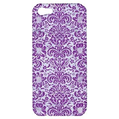 Damask2 White Marble & Purple Denim (r) Apple Iphone 5 Hardshell Case