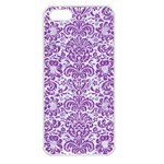 DAMASK2 WHITE MARBLE & PURPLE DENIM (R) Apple iPhone 5 Seamless Case (White) Front