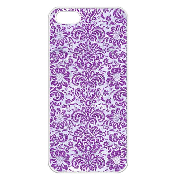 DAMASK2 WHITE MARBLE & PURPLE DENIM (R) Apple iPhone 5 Seamless Case (White)