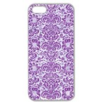 DAMASK2 WHITE MARBLE & PURPLE DENIM (R) Apple Seamless iPhone 5 Case (Clear) Front