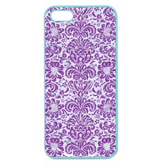 Damask2 White Marble & Purple Denim (r) Apple Seamless Iphone 5 Case (color)