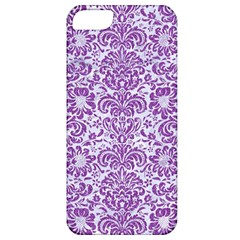 Damask2 White Marble & Purple Denim (r) Apple Iphone 5 Classic Hardshell Case