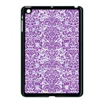 DAMASK2 WHITE MARBLE & PURPLE DENIM (R) Apple iPad Mini Case (Black) Front