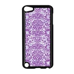 Damask2 White Marble & Purple Denim (r) Apple Ipod Touch 5 Case (black)