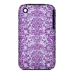 Damask2 White Marble & Purple Denim (r) Iphone 3s/3gs
