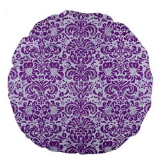 Damask2 White Marble & Purple Denim (r) Large 18  Premium Round Cushions by trendistuff