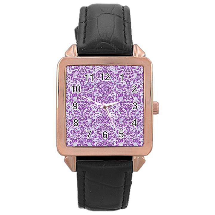 DAMASK2 WHITE MARBLE & PURPLE DENIM (R) Rose Gold Leather Watch