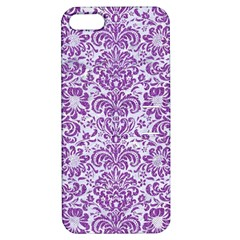 DAMASK2 WHITE MARBLE & PURPLE DENIM (R) Apple iPhone 5 Hardshell Case with Stand