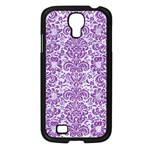 DAMASK2 WHITE MARBLE & PURPLE DENIM (R) Samsung Galaxy S4 I9500/ I9505 Case (Black) Front