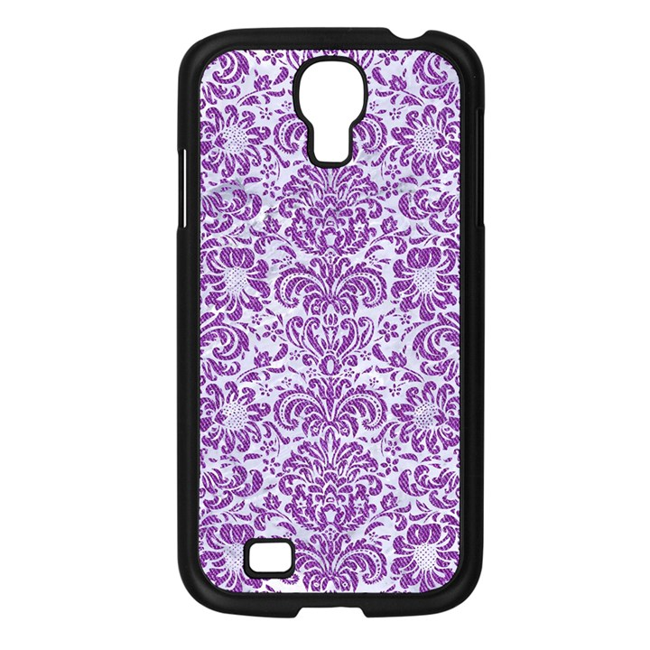DAMASK2 WHITE MARBLE & PURPLE DENIM (R) Samsung Galaxy S4 I9500/ I9505 Case (Black)
