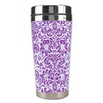 DAMASK2 WHITE MARBLE & PURPLE DENIM (R) Stainless Steel Travel Tumblers Right