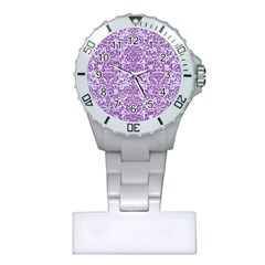 Damask2 White Marble & Purple Denim (r) Plastic Nurses Watch by trendistuff