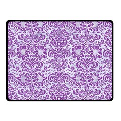Damask2 White Marble & Purple Denim (r) Double Sided Fleece Blanket (small)