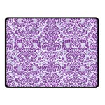 DAMASK2 WHITE MARBLE & PURPLE DENIM (R) Double Sided Fleece Blanket (Small)  45 x34 Blanket Front