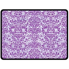 Damask2 White Marble & Purple Denim (r) Double Sided Fleece Blanket (large)