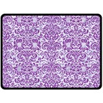 DAMASK2 WHITE MARBLE & PURPLE DENIM (R) Double Sided Fleece Blanket (Large)  80 x60 Blanket Back