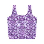 DAMASK2 WHITE MARBLE & PURPLE DENIM (R) Full Print Recycle Bags (M)  Front