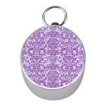 DAMASK2 WHITE MARBLE & PURPLE DENIM (R) Mini Silver Compasses Front