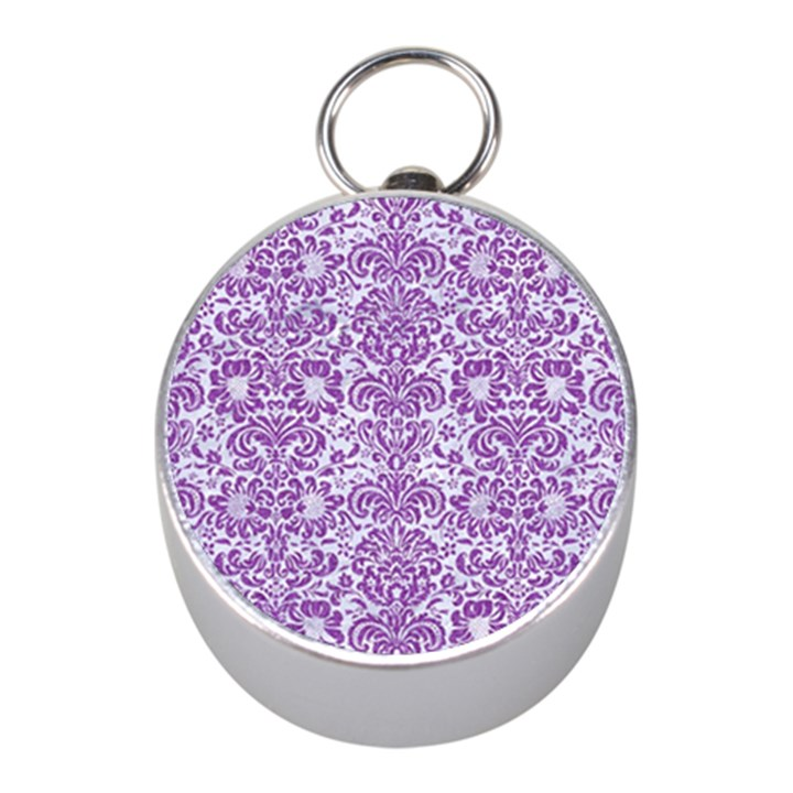 DAMASK2 WHITE MARBLE & PURPLE DENIM (R) Mini Silver Compasses
