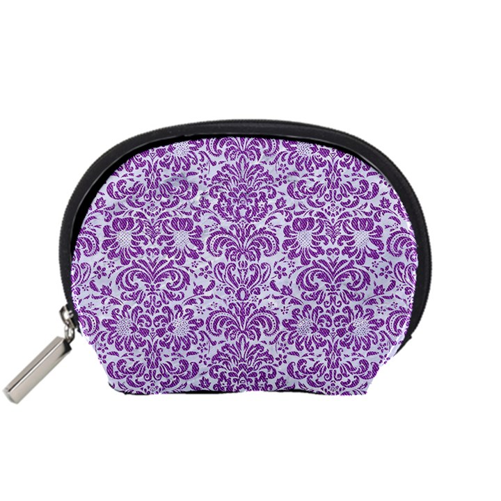 DAMASK2 WHITE MARBLE & PURPLE DENIM (R) Accessory Pouches (Small)
