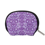 DAMASK2 WHITE MARBLE & PURPLE DENIM (R) Accessory Pouches (Small)  Back