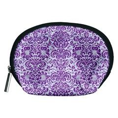 Damask2 White Marble & Purple Denim (r) Accessory Pouches (medium)