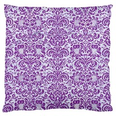 Damask2 White Marble & Purple Denim (r) Standard Flano Cushion Case (one Side) by trendistuff