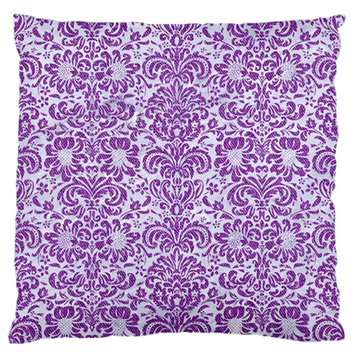 DAMASK2 WHITE MARBLE & PURPLE DENIM (R) Standard Flano Cushion Case (One Side)