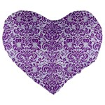 DAMASK2 WHITE MARBLE & PURPLE DENIM (R) Large 19  Premium Flano Heart Shape Cushions Front