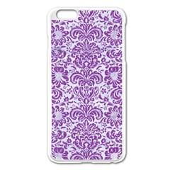DAMASK2 WHITE MARBLE & PURPLE DENIM (R) Apple iPhone 6 Plus/6S Plus Enamel White Case
