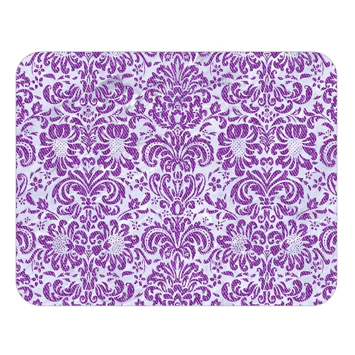 DAMASK2 WHITE MARBLE & PURPLE DENIM (R) Double Sided Flano Blanket (Large)