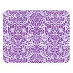 DAMASK2 WHITE MARBLE & PURPLE DENIM (R) Double Sided Flano Blanket (Large)   Blanket Back