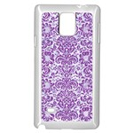 DAMASK2 WHITE MARBLE & PURPLE DENIM (R) Samsung Galaxy Note 4 Case (White) Front