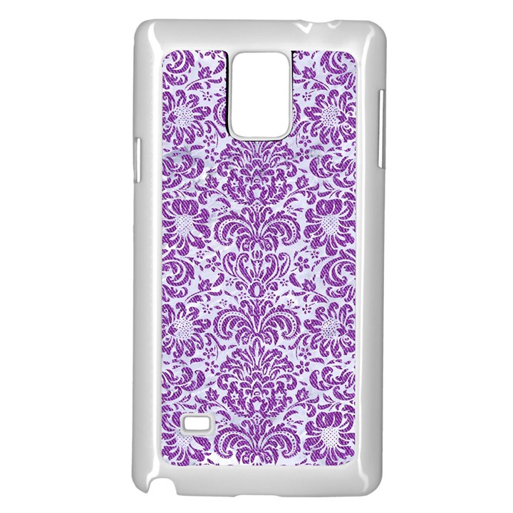 DAMASK2 WHITE MARBLE & PURPLE DENIM (R) Samsung Galaxy Note 4 Case (White)