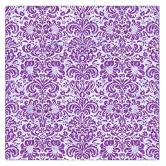 Damask2 White Marble & Purple Denim (r) Large Satin Scarf (square)