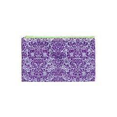 Damask2 White Marble & Purple Denim (r) Cosmetic Bag (xs)