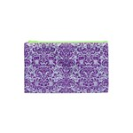 DAMASK2 WHITE MARBLE & PURPLE DENIM (R) Cosmetic Bag (XS) Front