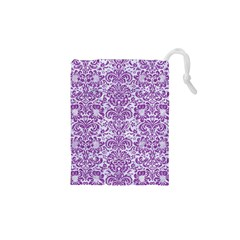 Damask2 White Marble & Purple Denim (r) Drawstring Pouches (xs)