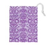 DAMASK2 WHITE MARBLE & PURPLE DENIM (R) Drawstring Pouches (Extra Large) Front