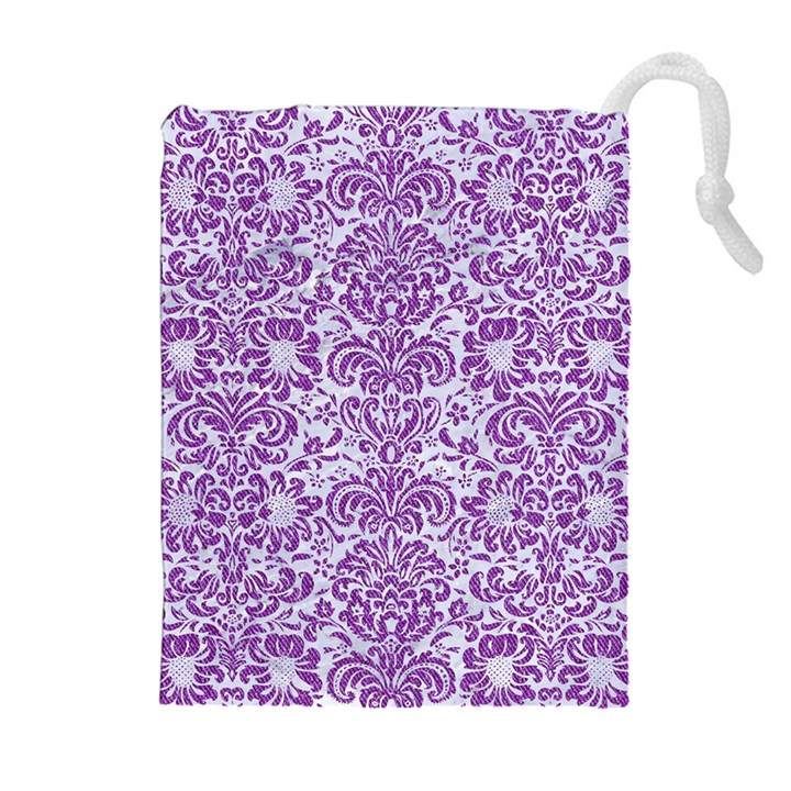 DAMASK2 WHITE MARBLE & PURPLE DENIM (R) Drawstring Pouches (Extra Large)