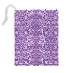 DAMASK2 WHITE MARBLE & PURPLE DENIM (R) Drawstring Pouches (Extra Large) Back