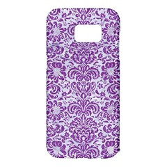 Damask2 White Marble & Purple Denim (r) Samsung Galaxy S7 Edge Hardshell Case