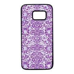 Damask2 White Marble & Purple Denim (r) Samsung Galaxy S7 Black Seamless Case